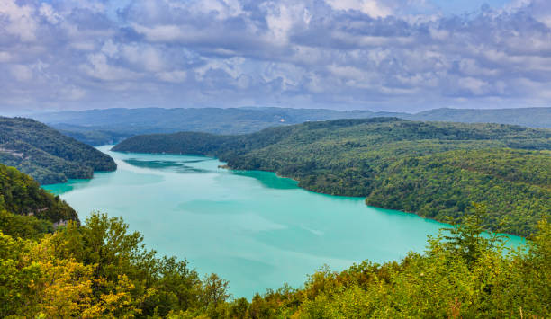 Vouglans Lake on the River Ain in Jura, France stock photo