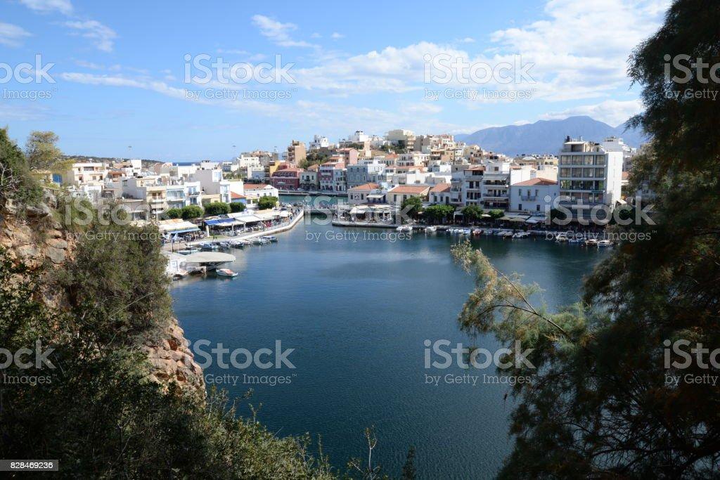 voulismeni lake in Agios Nikolaos, Crete stock photo