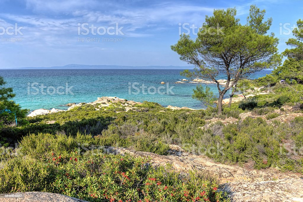 Vourvourou - Orange beach, Sithonia, Greece stock photo