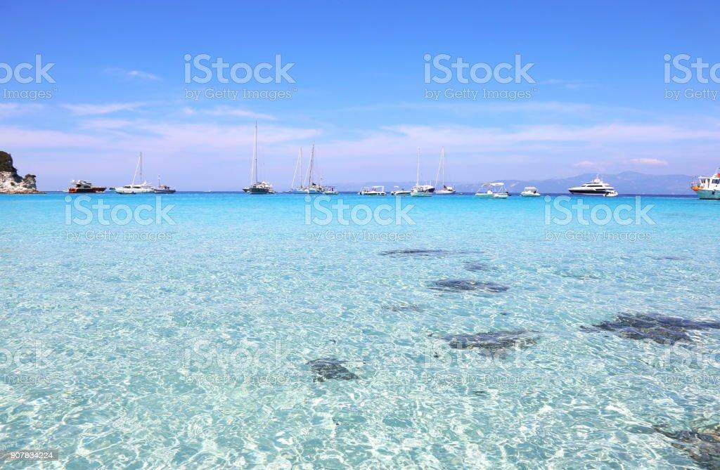 Voutoumi praia Antipaxos ilha Grécia - foto de acervo