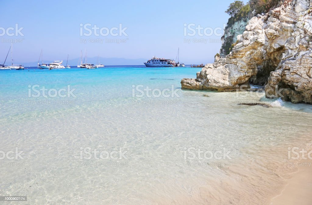 Praia de Voutoumi de Antipaxos ilha Grécia - foto de acervo