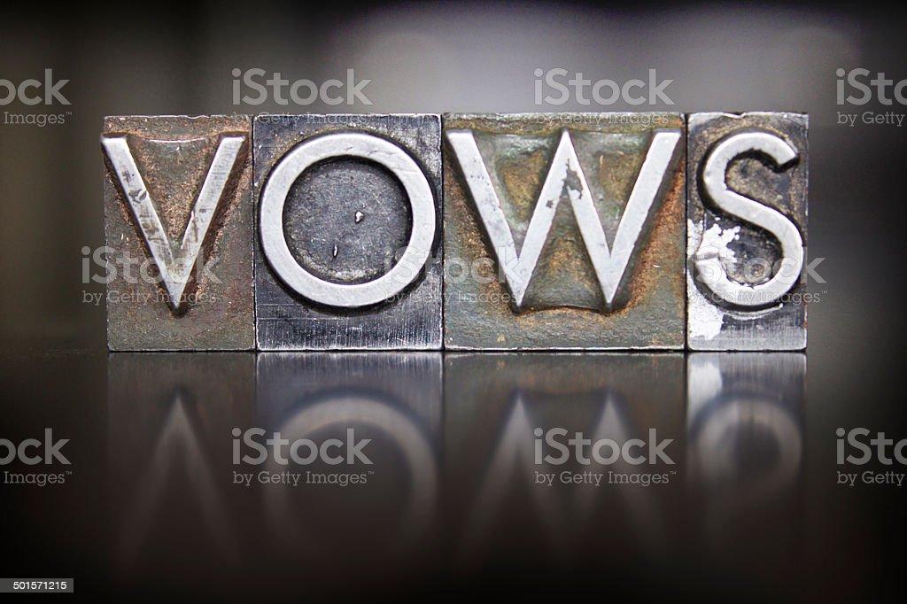 Vows Letterpress stock photo