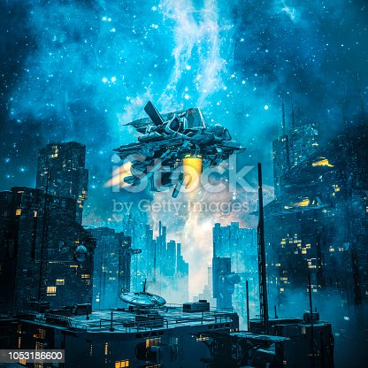 3D illustration of spaceship taking off from dark futuristic city under a glowing galaxy