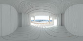 vr hdr style 360 panorama white wooden planks house on a beautiful beach on a sunny day. porch with empty blank copy space to add your content