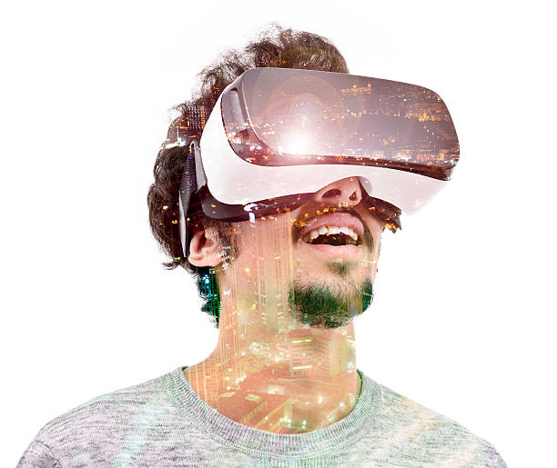 Vr headset experience double exposure stock photo