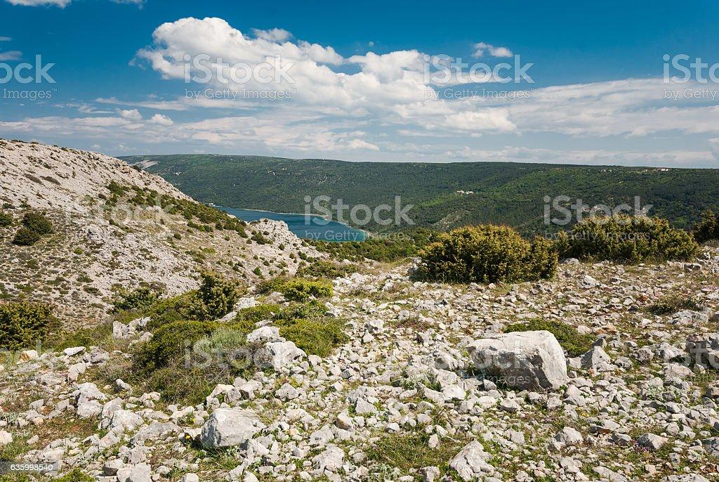 Vransko Lake, Cres Island, Croatia stock photo