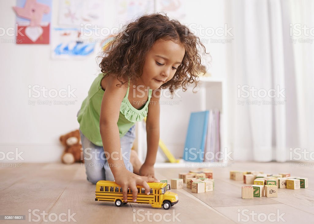 Vroom goes the school bus stock photo