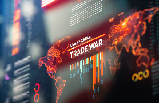 USA against China Global Financial Trade War Background Close-up on Digital Display
