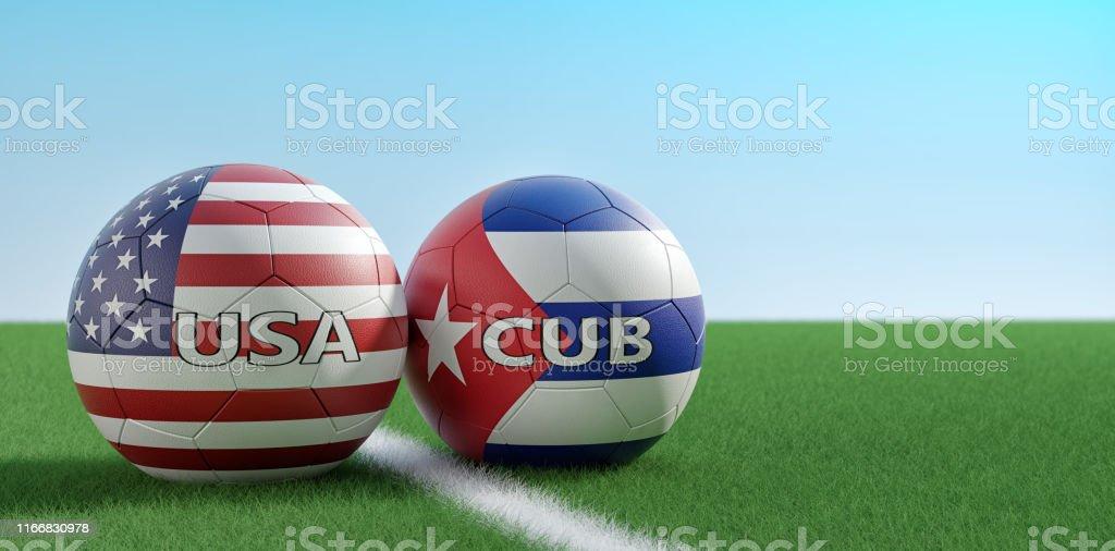 USA vs. Cuba Soccer Match - Soccer balls in USA and Cuba national...