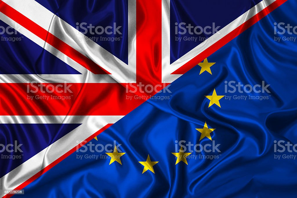 UK vs EU -  flag on wind stock photo