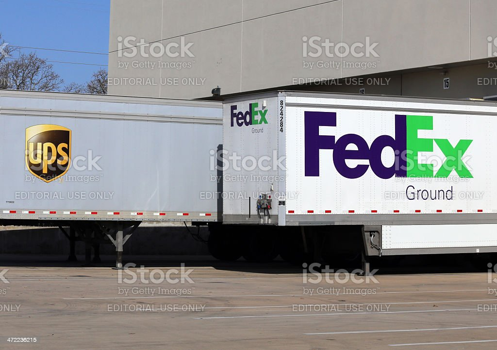UPS vs Fedex stock photo