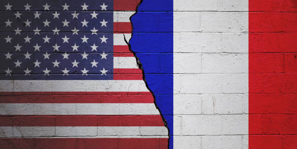 USA vs France stock photo