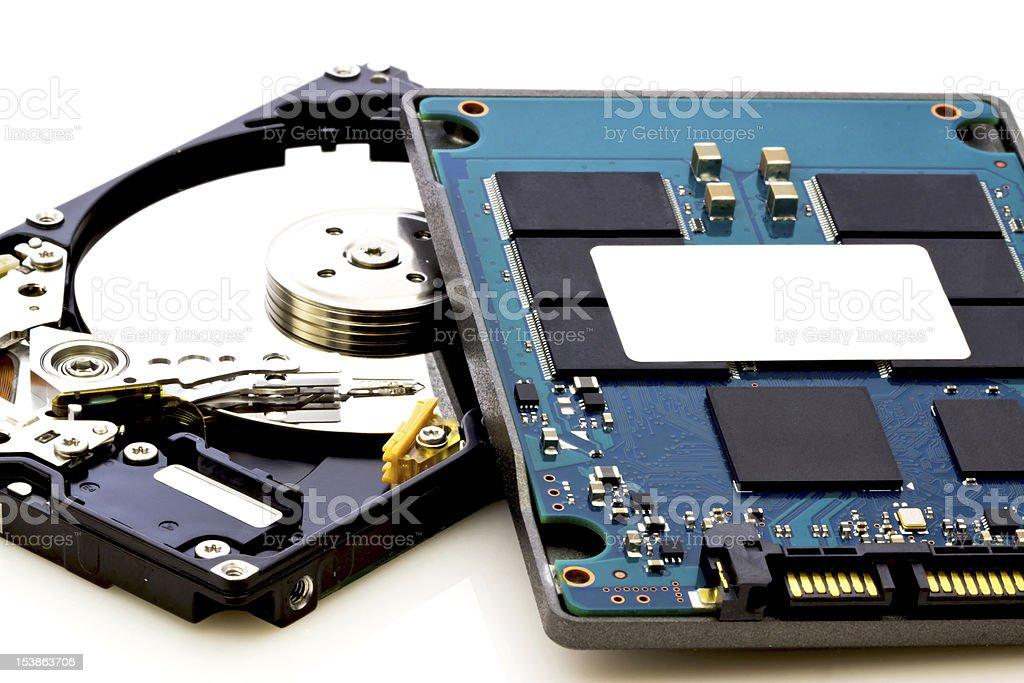 vs unidad de disco duro, del nuevo y del viejo tecnología - Foto de stock de Compartimiento para almacenamiento libre de derechos