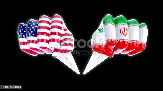 istock USA vs Iran - 3D Illustration 1157583333
