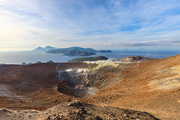 vulcano - gran cratere della fossa, aeolian islands - sicily - della stock pictures, royalty-free photos & images