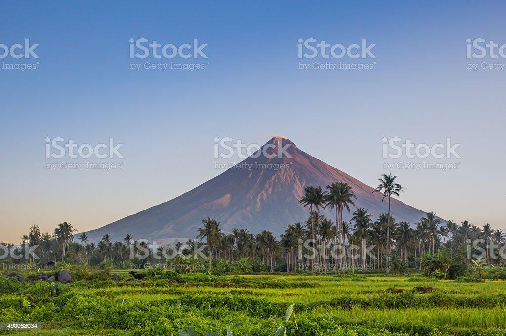 Vulcano Mount Mayon in the Philippines stock photo