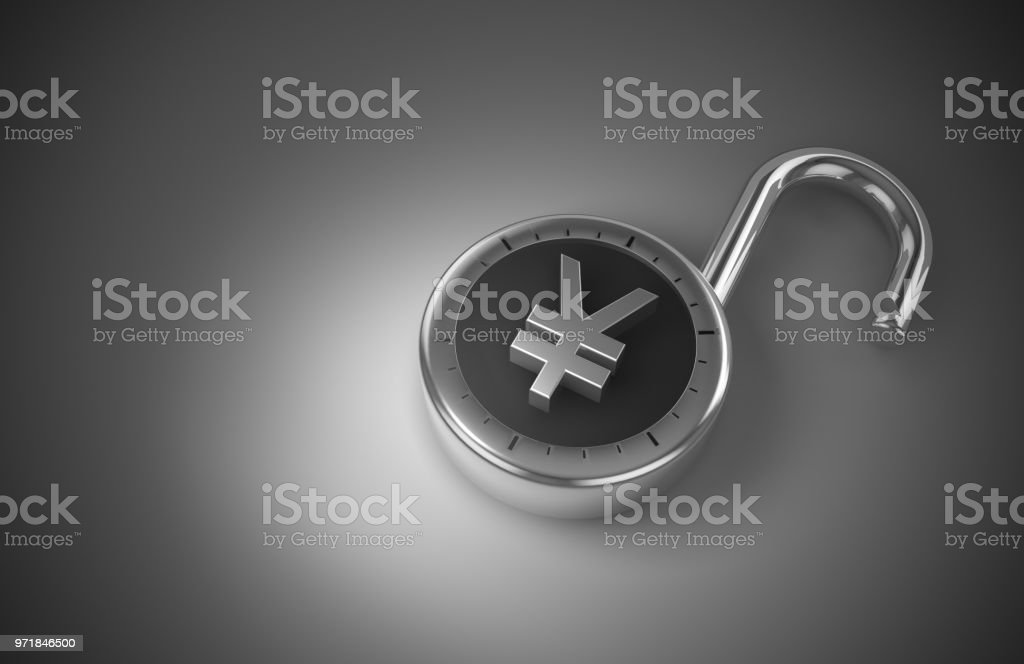 Vulnerable Chinese Yuan or Japanese Yen, hacked, and unprotected and unsecured as 3d rendering. stock photo