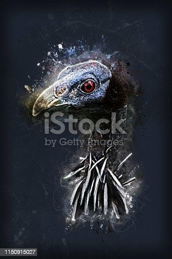 A digital painting of a portrait of a vulturine guinea fowl.