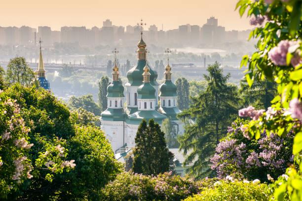 Vydubychi Monastery view stock photo
