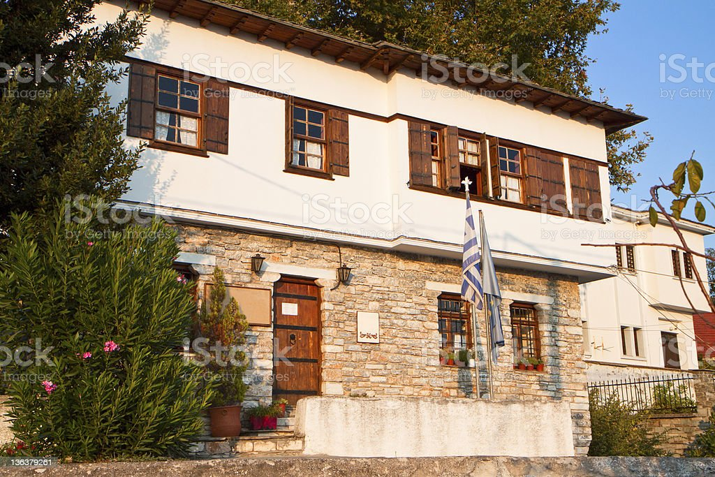 Vyzitsa village of Pelion in Greece stock photo