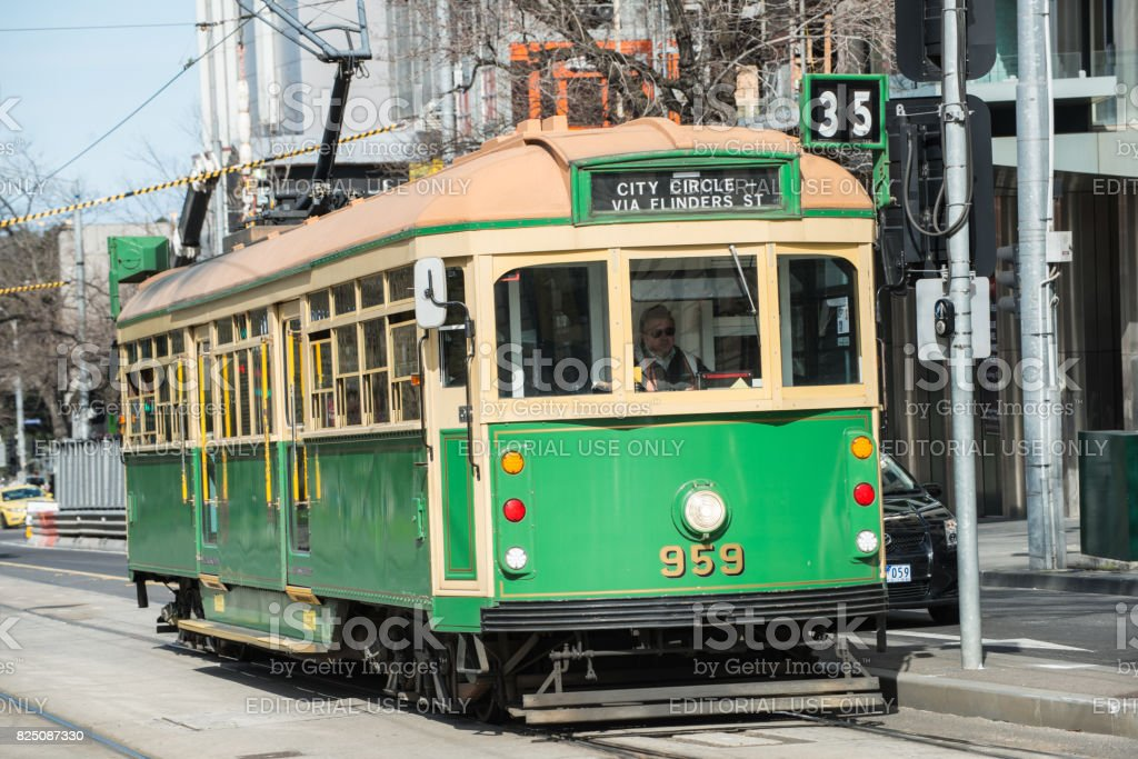 A W6-class tram on Victoria Street of Melbourne the iconic famous transportation in the town of Melbourne. stock photo