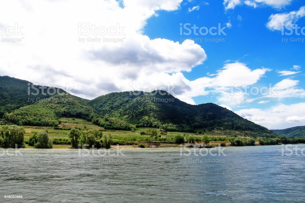 Wachau Valley, an Austrian valley with a picturesque landscape formed by the Danube river located midway between the towns of Melk and Krems in Lower Austria (Osterreich) stock photo