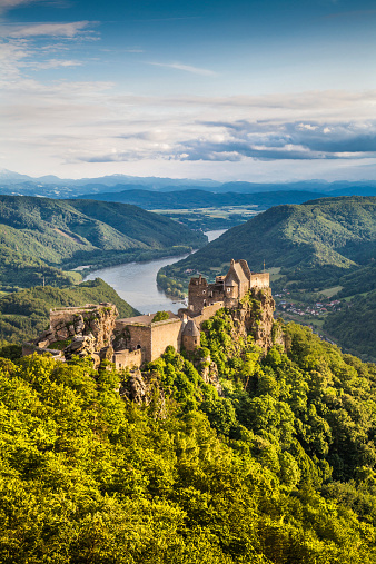 Wachau Valley With Castle Ruin At Sunset Austria Stock Photo - Download Image Now