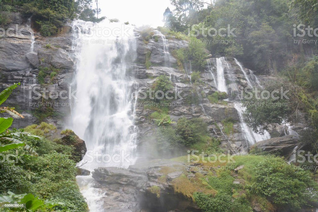 wachiratha waterfal in Doi Inthanon, Chiangmai ,Thailand royalty-free stock photo