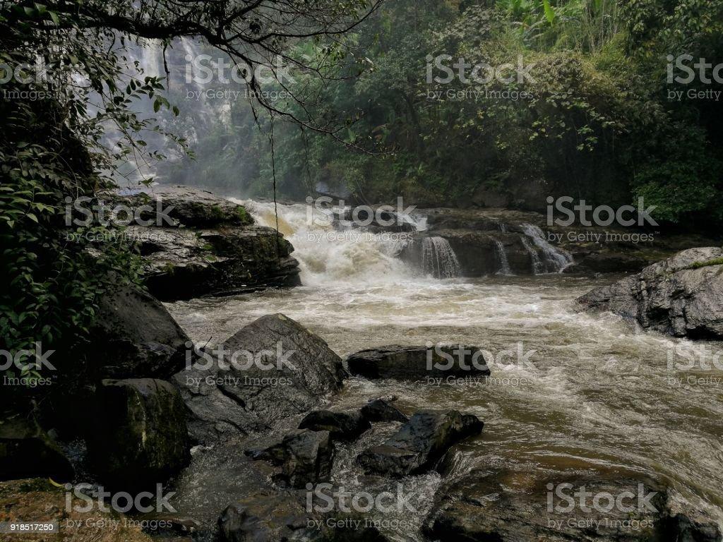 Wachirathan Waterfall Doi Inthanon National Park, Chiang Mai,bellow watterfall stock photo