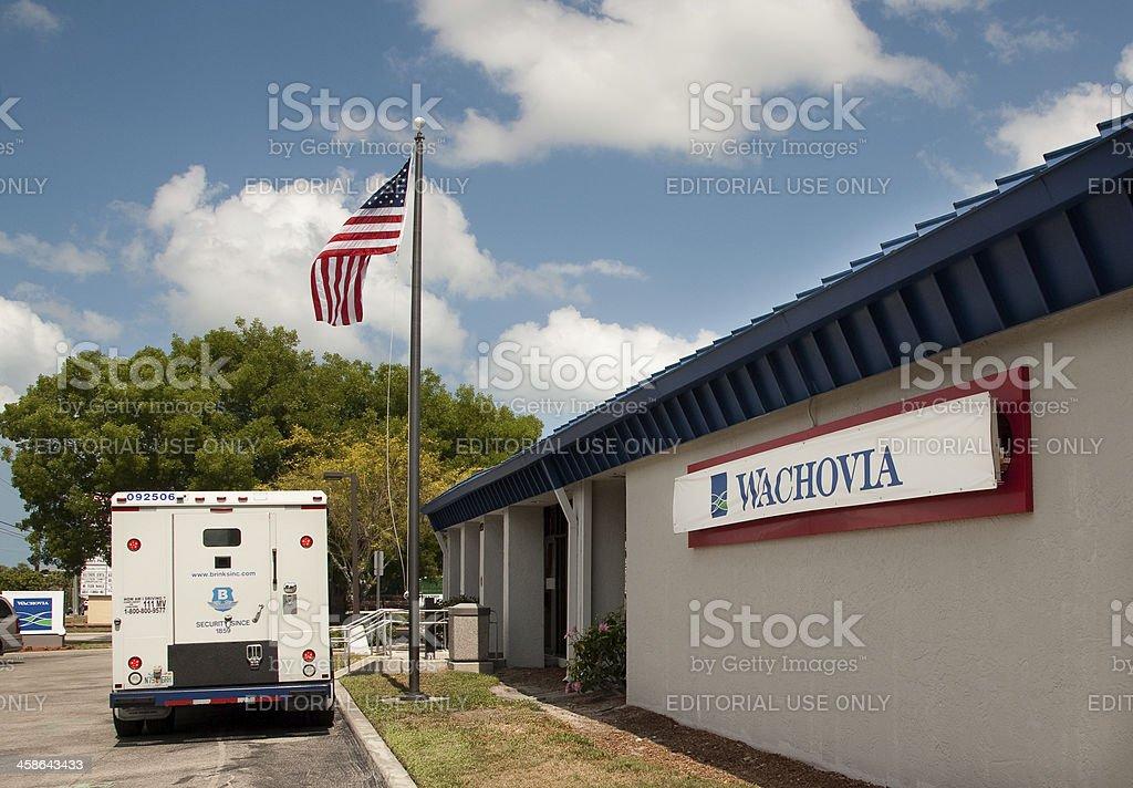 Wachovia Bank temporary sign stock photo