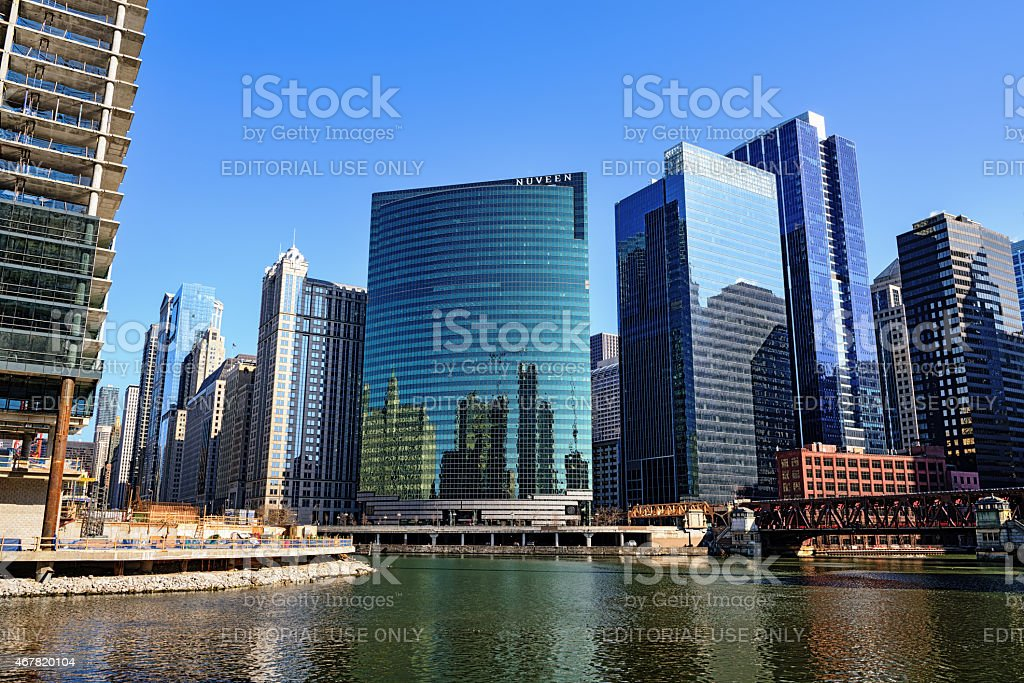 Wacker Driver architecture and Wolf Point, downtown Chicago stock photo