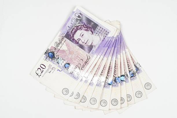 Wad of UK twenty pound notes
