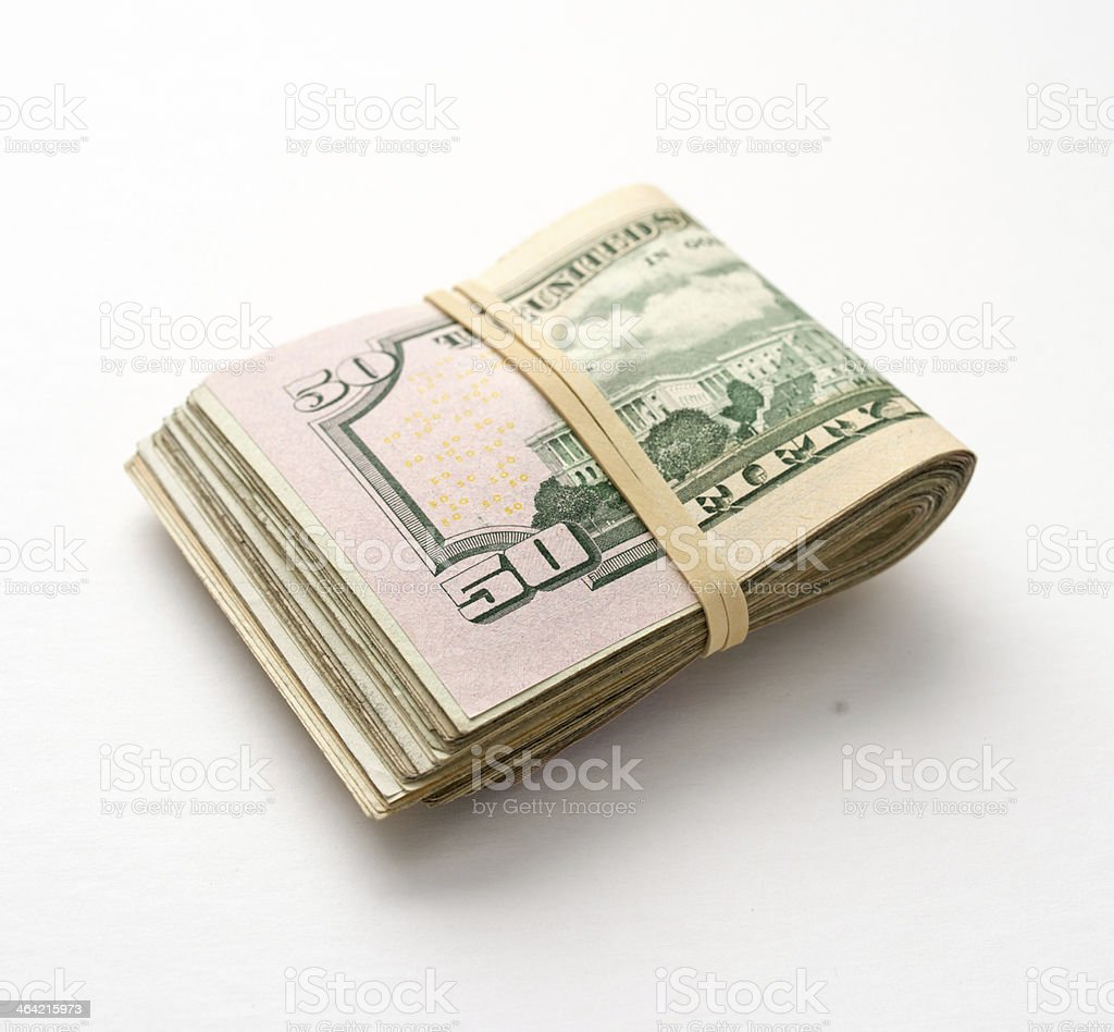 Wad of US Cash stock photo