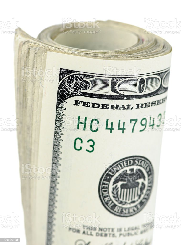 Wad of US One Hundred Dollar Bills royalty-free stock photo
