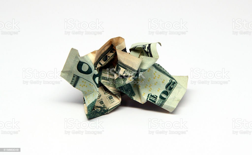 Wadded Up Twenty Dollar Bill stock photo