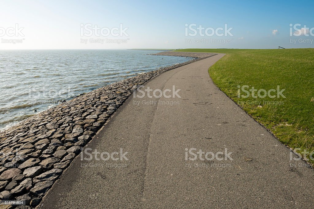 Waddendyke on the island of Terschelling in the Netherlands. stock photo