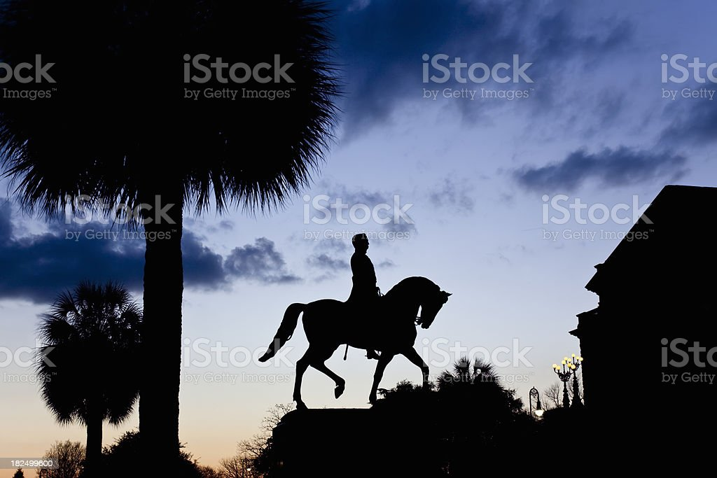 Wade Hampton, III, on Horseback, Statue Silhouette royalty-free stock photo