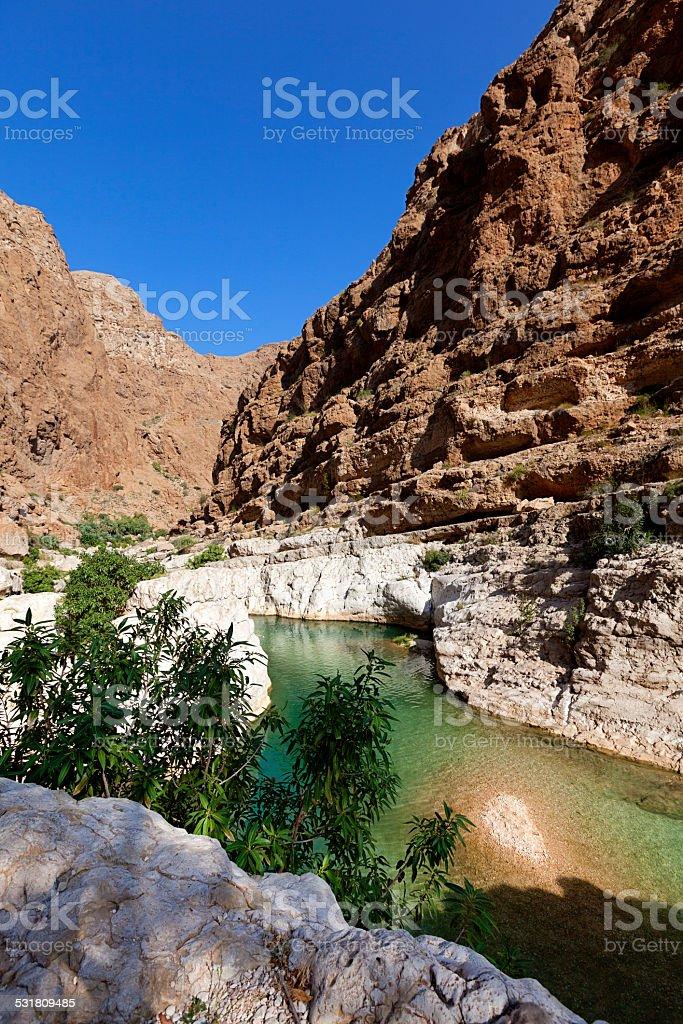 wadi al shab oman stock photo