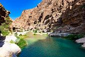 beautiful wadi al shab in oman.