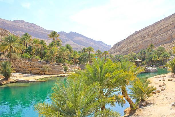 Wadi Bani Khalid, Ash Sharqiyah region, Oman Wadi Bani Khalid, Ash Sharqiyah region, Oman riverbed stock pictures, royalty-free photos & images