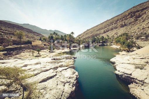 beautiful wadi bani khalid oasis in oman.