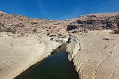 riverbed at wadi bani khalid, oman.