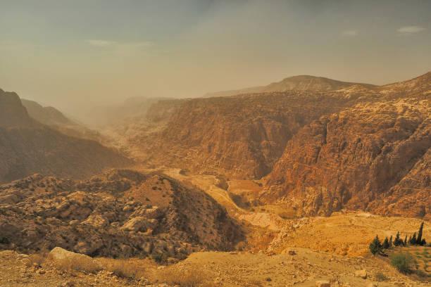 Wadi Dana Reserve typische Landschaft. Wadi Dana Nationalpark. Jordanien – Foto