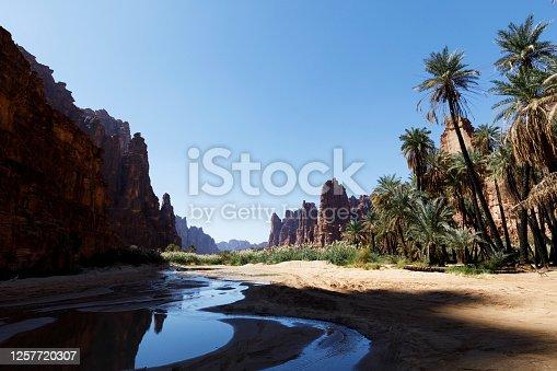 Wadi Disah, also known as Wadi Qaraqir, is a 15 kilometer long canyon running through the Jebel Qaraqir, a sandstone massif lying about 80 kilometers south of the city of Tabuk in Saudi Arabia
