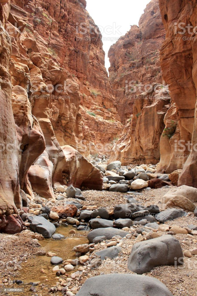 Wadi Ghuweir canyon, Dana, Jordan stock photo