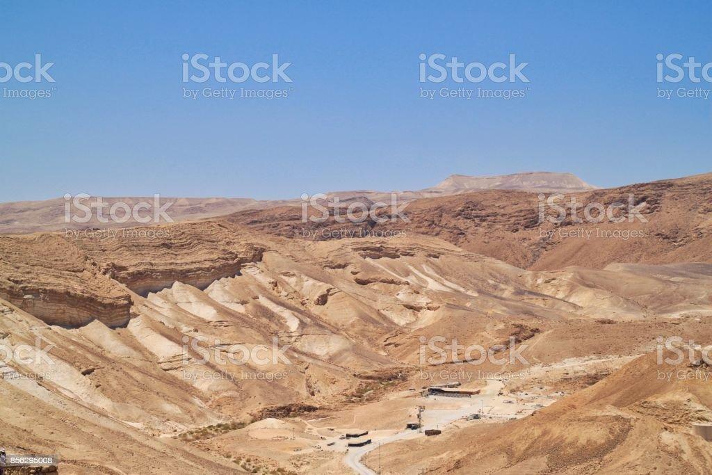 Wadi in the Judean Desert with desert life stock photo