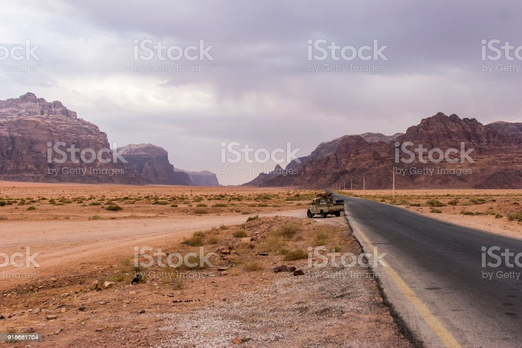 Wadi Rum desert, a valley cut into the sandstone and granite rock stock photo