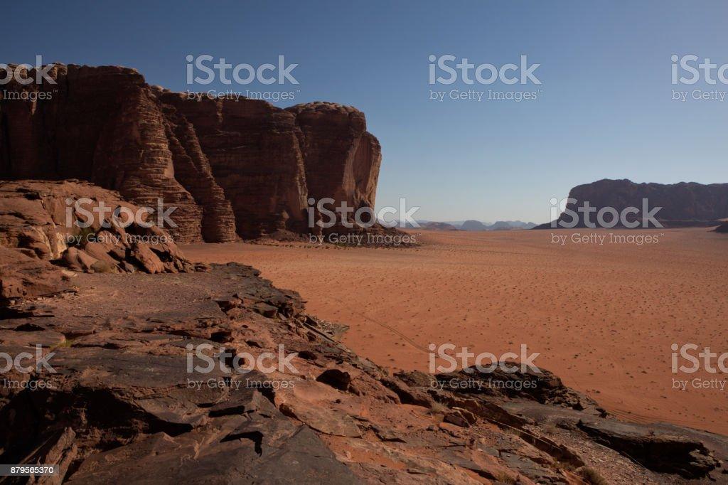 Wadi Rum red desert in Jordan stock photo