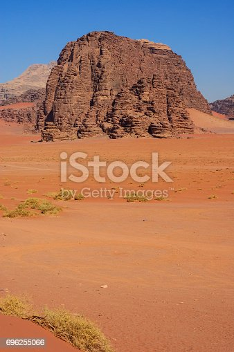 Vertical view of Magical Wadi Rum Petra in Jordan