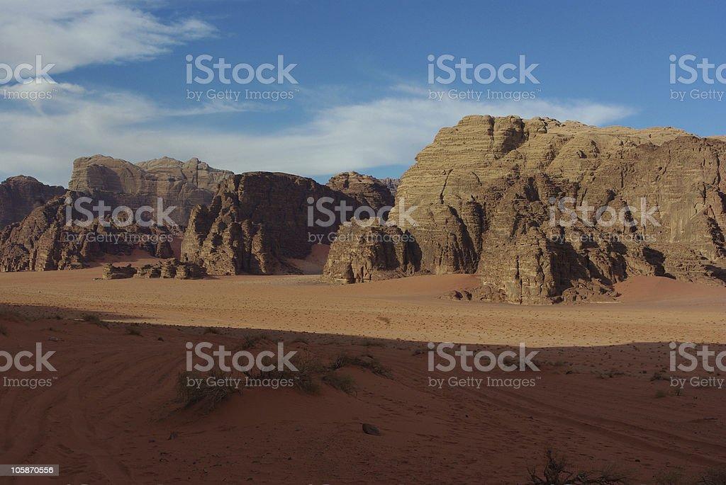 Wadi Rum's vast landscape stock photo